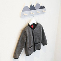 Nordic Style Wooden Mountain Kids Coat Rack Geometric Mountain Art Shelf For Clothes 4 Hook Of