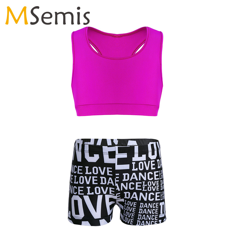 2PCS Kids Girls Ballet Dancewear Tankini Outfit Tank Top With Letters Printed Bottoms Set For Ballet Gymnastics Leotard For Girl