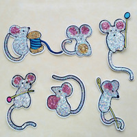 6pcs Set Cute Mouse Applique Iron On Sequins Patches For Clothing Bag Jacket Cartoon Motif Sticker