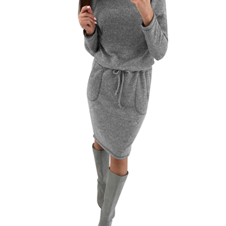 2017 Women Fashion Dress Long Sleeve Casual Solid Loose Autumn Winter knitted Slim Dresses