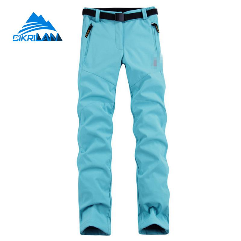 Womens Winter Warm Fleece Softshell Trousers Fishing Camping Hiking Pants Women Skiing Water Resistant Windstopper Pantalones