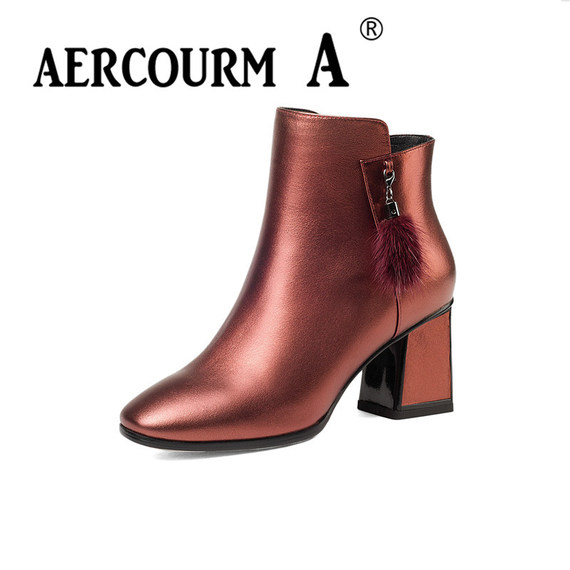 Aercourm A 2017 Winter Shoes Women Genuine Leather Boots Cowhide High Heel Shoes Luxury Brand Shoes Women Metal Zippe Boots Z957 aercourm a 2018 women black fashion shoes female bright genuine leather shoes pearl high heel pumps bow brand new shoes z333