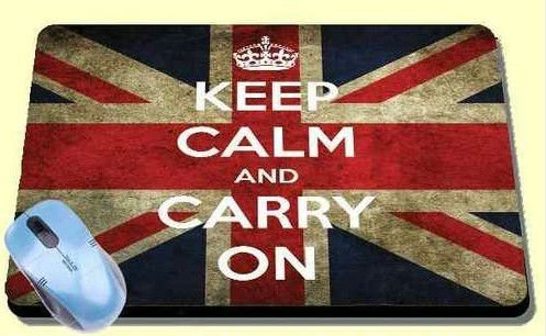 VINTAGE UNION JACK KEEP CALM AND CARRY ON mousepad  Rubber mouse pad mat distressed flag