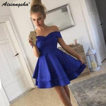 1f01163da8 El hombro azul real Borgoña Mini vestidos de fiesta 2019 Semi Formal Junior  vestido de graduación de satén corto vestidos de baile