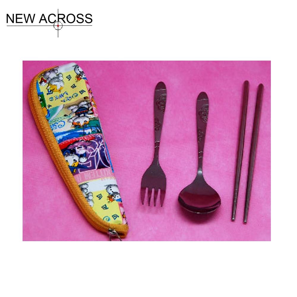 Gohide Outdoor Travel Dinner Kit Character Stainless Steel Dinnerware Sets Spoon Fork Chopsticks Kit Portable Bag