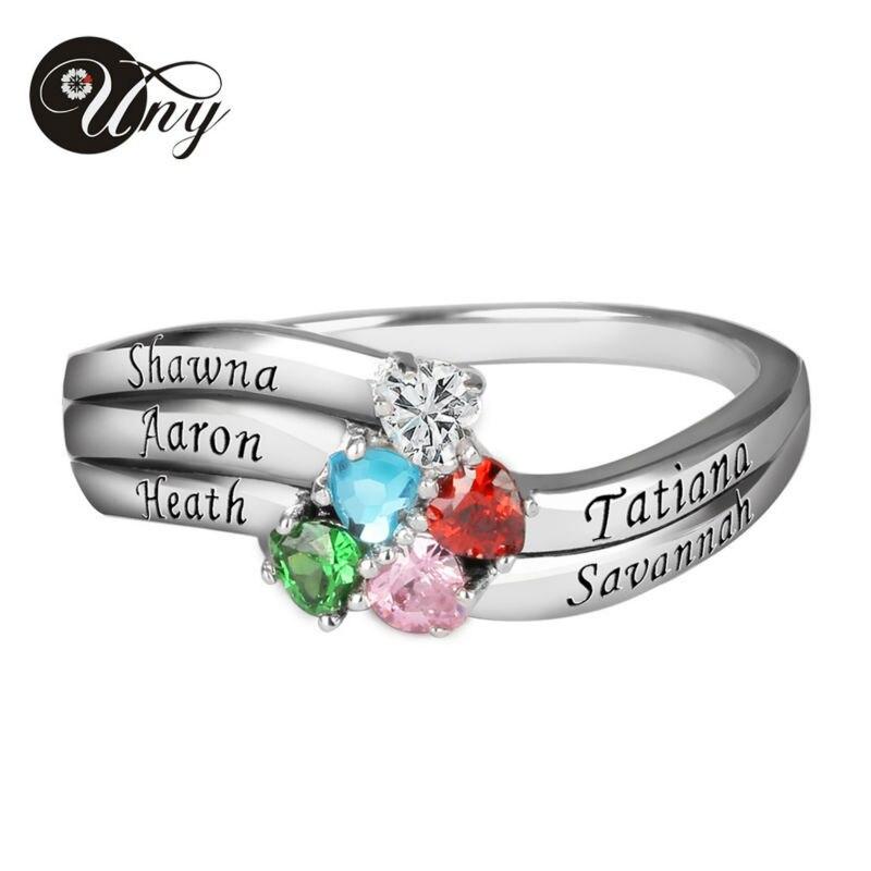 Bague UNY en argent Sterling personnalisée graver des anneaux de naissance de famille anneau de naissance d'anniversaire anneaux cadeaux personnalisés de saint-valentin