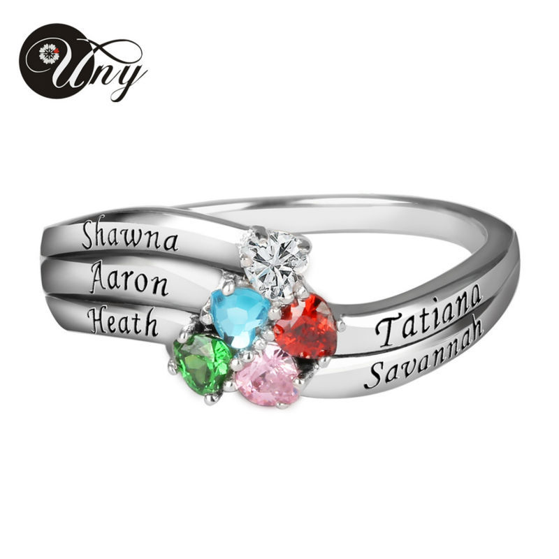 UNY Ring Sterling Silver Customized Engrave Family Heirloom Rings Anniversary Birthstone Ring Personalized Valentine Gift Rings