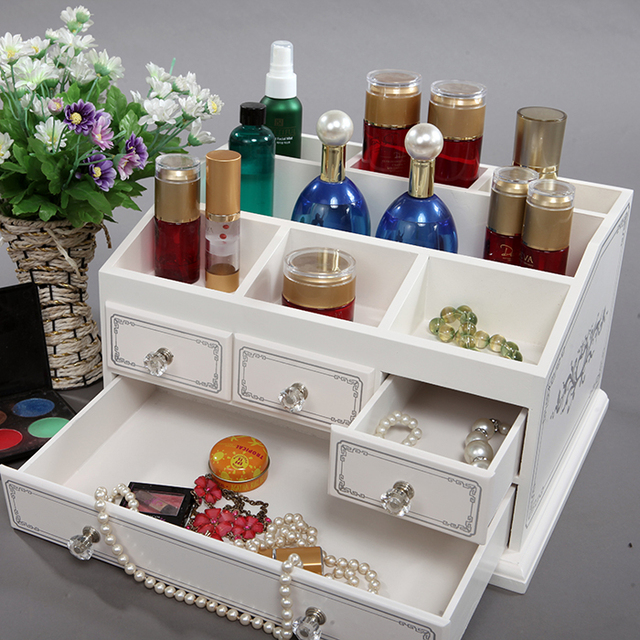 2018 Top Fashion Organizador Wooden Large Table Top Dressing Cosmetics Storage Box Of The First Of Makeup Organizer Of Jewelry