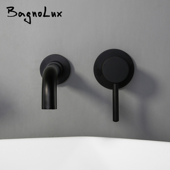 цена на Wholesale And Retail Modern Wall-Mount Mixer Tap Bathroom Sink Faucet Swivel Wall Spout Bath With Single Lever Basin Faucet 1085