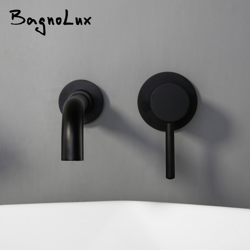 Wholesale And Retail Modern Wall Mount Mixer Tap Bathroom Sink Faucet Swivel Wall Spout Bath With Single Lever Cover Plinth 1085