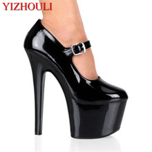Sexy 15 cm high with runway looks simple and comfortable shoes Super high heels nightclub shoes