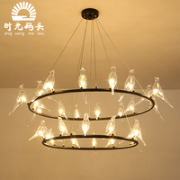 nordic Modern Gold LED Pendant Lights glass bird iron ring bedroom dinning room kitchen hanglampen voor eetkamer lamp