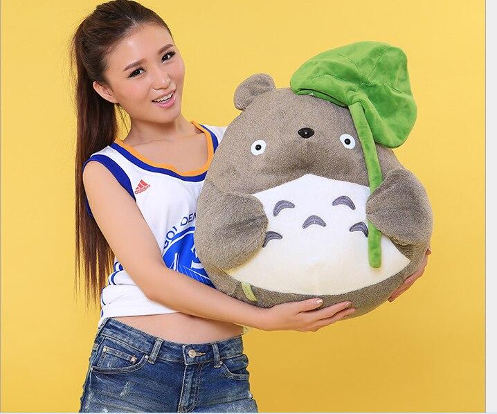 Gros jouet en peluche Totoro expression classique totoro avec poupée feuille de Lotus cadeau environ 50 cm