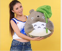 big plush Totoro toy classic expression totoro with Lotus leaf doll gift about 50cm