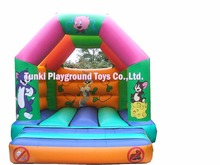inflatable jumping bed/inflatable bouncer with slide,set trampolines slide of birthday cake