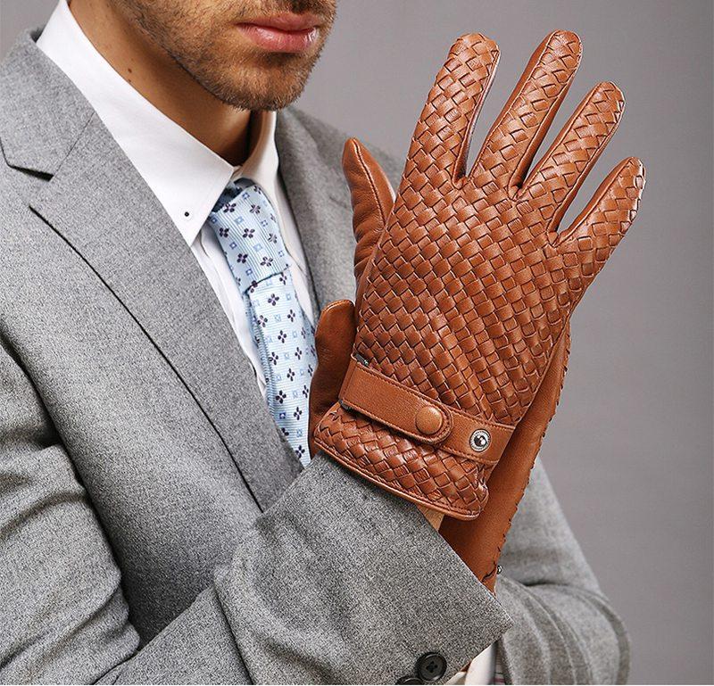 Nouveau gant en cuir véritable tricoté pour hommes gant court en daim mince Fashion1 paire/Lots XL L M S