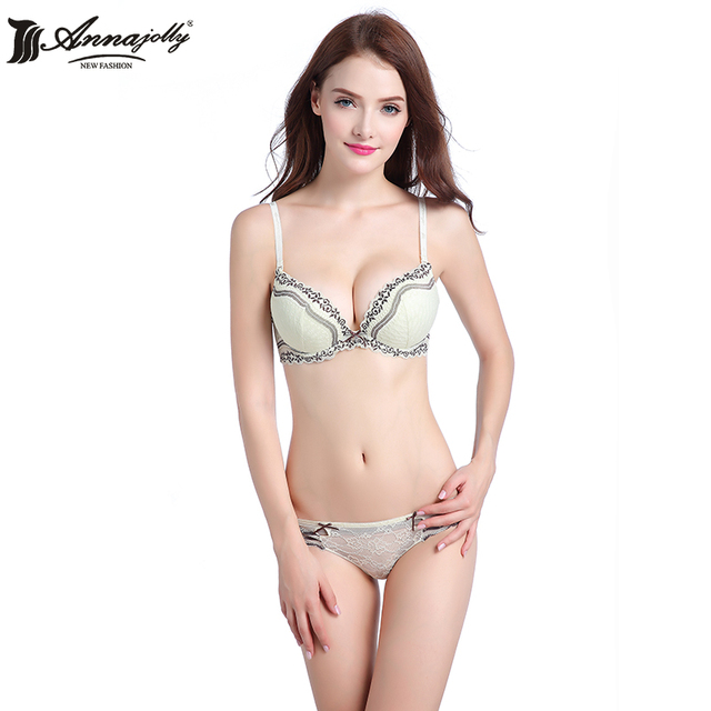 Annajolly Floral Sexy Soild Cup Underwear Bra Women Lingerie Women Clothing Intimates Panties And Bra Sets Hot Sale U7651set