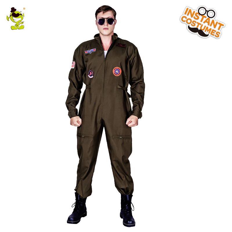 New Arrival Men's Top Gun Costume Masquerade Gun Jumpsuit Carnival Party Performance Movie Strong Gun Clothing For Male Suits