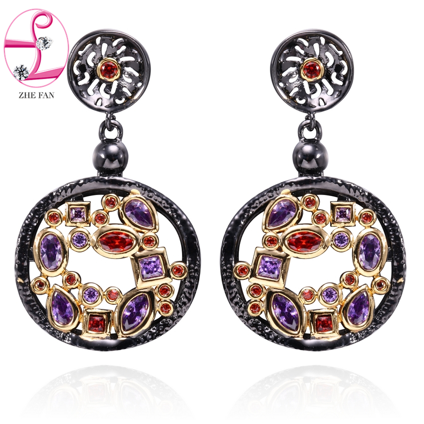 ZHE FAN Vintage Round Dangle Earrings AAA Cubic Zirconia Black Gold Color 2 Tone Plated Luxury Jewelry For Women Gift Colorful