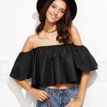 New Women's Blouses Summer Fashion 2016 Sexy Off Shoulder Ladies Casual Tops Women Strapless Flare Sleeve Blouse Blusas #Zer