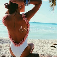 Anibol 2017 Sexy Backless Floral Women One Piece Swimwear Stereo Ruffles White Swimsuit High Elastic Beach
