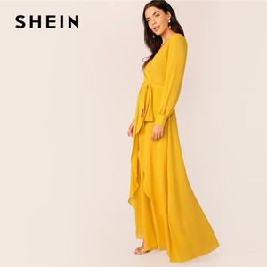 Image 3 - SHEIN Mustard Self Belted Wrap Maxi Dress Women Glamorous High Waist V Neck Party Dress Ladies Spring Bishop Sleeve Long Dresses