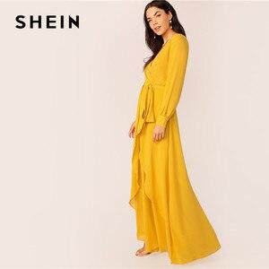 Image 3 - فستان ماكسي نسائي من SHEIN مزود بحزام ذاتي من الخردل ، فستان حفلات برقبة عالية وخصر على شكل V ، فساتين طويلة للسيدات ربيعية بأكمام طويلة