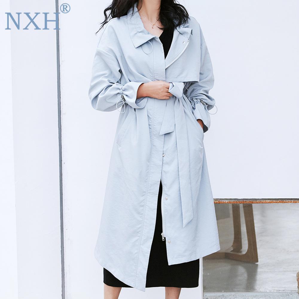 NXH 2019 New fashion Light blue long coat women   trench   coat for office lady windbreaker Capes clothes Elegant slim coat