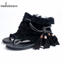Fashion Tassels Women Genuine Leather Gladiator Sandals Flip Flops Rope Fringed Lace Up Flat Shoes Woman