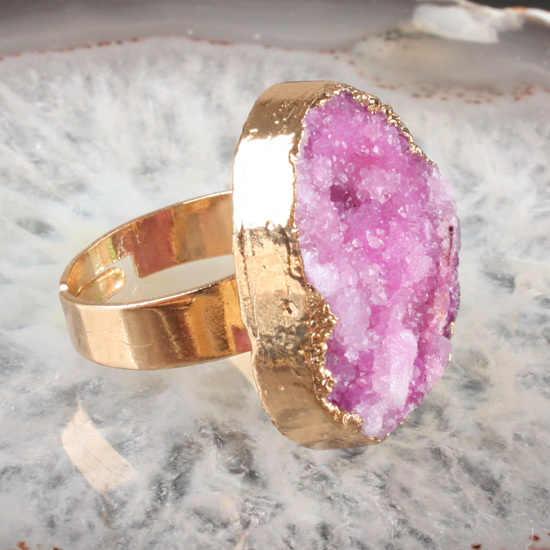 แฟชั่นผสมสีdrusy druzyหินแหวน,ธรรมชาติคริสตัลควอตซ์หินสไตล์ยุโรปที่สวยงามแหวนของขวัญที่ดีที่สุด