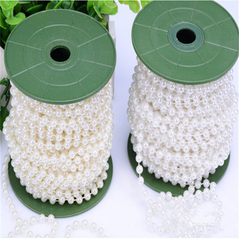 10m Of 6mm Bead Pearl String Ivory And White For Craft , Wedding Decoration AA7957