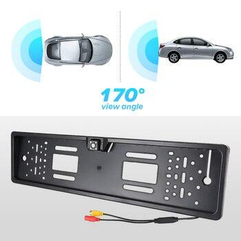 Auto Parktronic EU Marco de matrícula de coche cámara de visión trasera HD Visión Nocturna cámara de visión trasera cámara trasera de marcha atrás con 4 lámpara LED