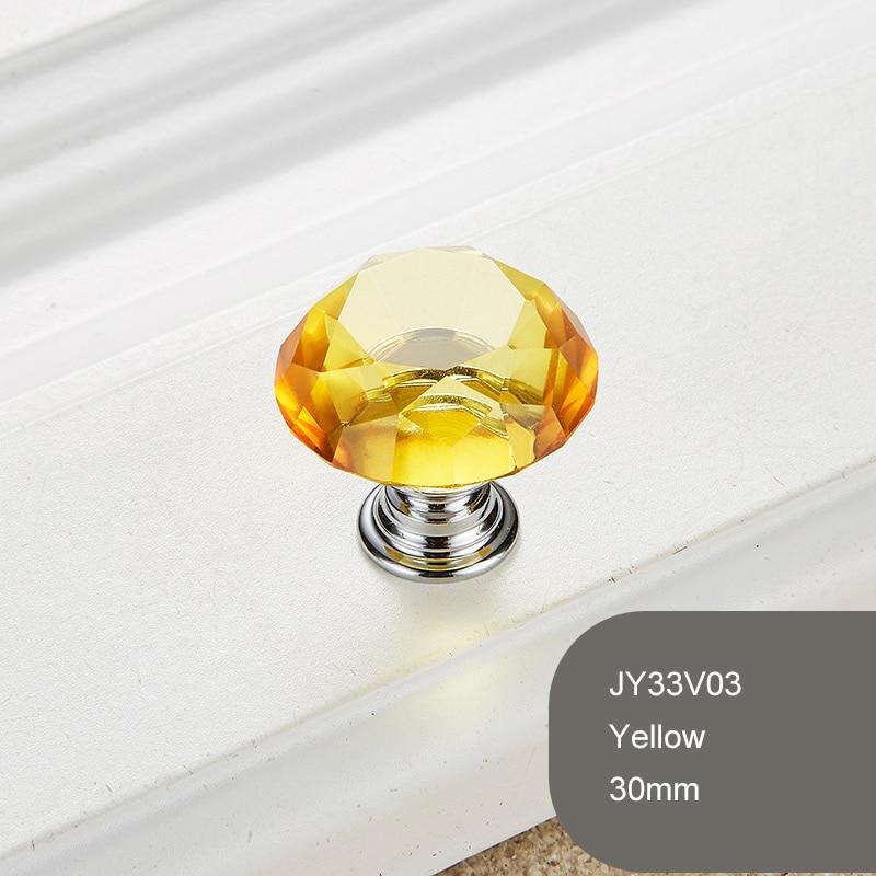 1 шт. Алмазная форма Хрустальное стекло 30 мм ручка выдвижного ящика ручка шкаф ящик комод фурнитура Аксессуары - Цвет: Цвет: желтый