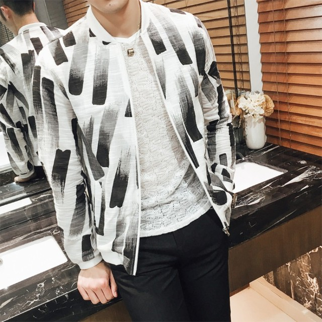 d9f54d41e1f Summer New Print Thin Jacket Men Fashion 2017 Long Sleeve Sun Protection  Clothing Mens Casual Bomber Jacket Windbreaker Coat Man