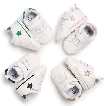 Baby Shoes Newborn PU Pentacle White Baby Girl Shoes Fashion First Walkers Anti-Slip Sport Baby Boy Shoes Baby's First Walkers