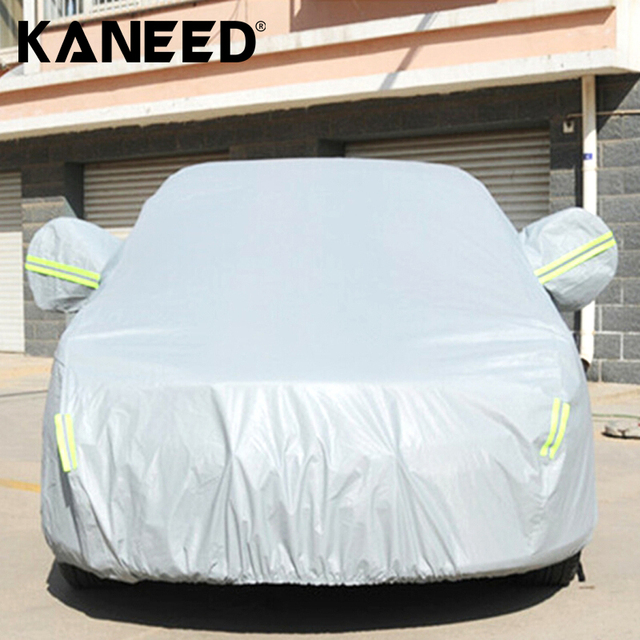 Full Car Cover Sun ProtectionS/M/L/XL/XXL Outdoor Universal Anti-Dust 2-Compartment Sedan car cover with Warning Strips