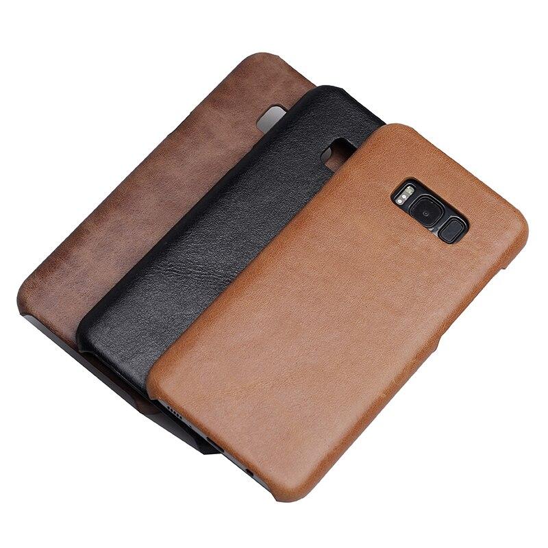 Цена за Solque реального натуральная кожа чехол для Samsung Galaxy S8 плюс S 8 Роскошный тонкий натуральный из натуральной коровьей кожу матовой твердой оболочки Чехлы