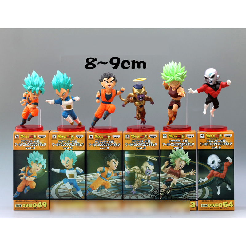 6PCS full set HOT Anime Dragon Ball Super Toppo Jiren Goku Kale Caulifla 9cm PVC Action Figure Model doll toys ellesse toppo overhead hoody athletic grey marl