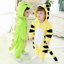 2016 Осень Зима Хлопка Мальчиков Sleepsacks Анти Удар Дети Пижамы Динозавров И Маленький Тигр Для 1-3 года