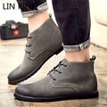 LIN REI Itália Estilo de Design Da Marca Botas Martin Nubuck Botas de Couro botas de Tornozelo Do Vintage de Alta-top Botas de Trabalho Dos Homens Ocidentais sapatos