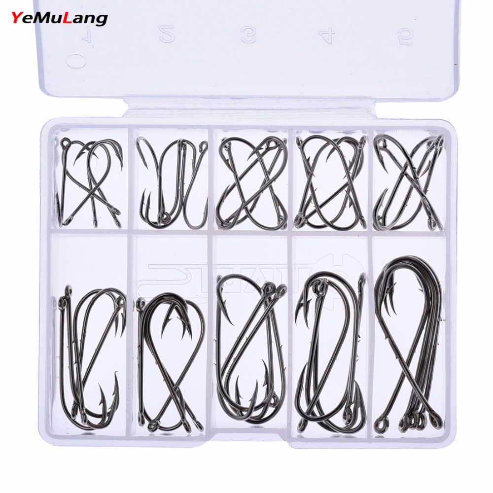YeMuLang 50 Pcs / Box 1#-10# High Carbon Steel Fishing Hook Needles - Fishing