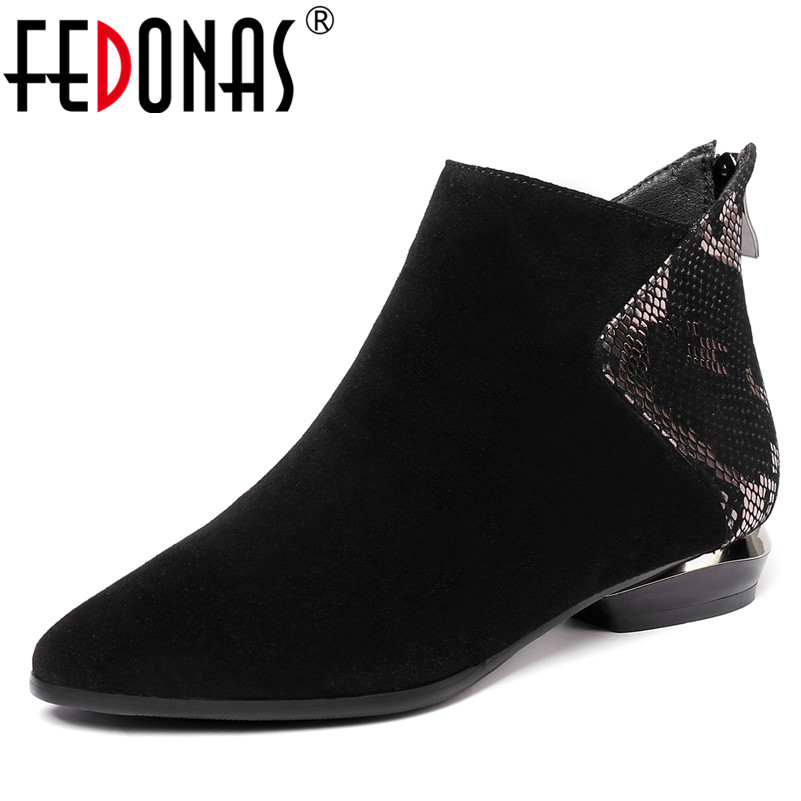 FEDONAS1 Fashion Women Ankle Boots Autumn Winter Warm High Heels Shoes Woman Round Toe Zipper Casual Brand Quality Basic Boots fashion embroided design spring winter casual women shoes zipper round toe square high heels women ankle booties free shipping
