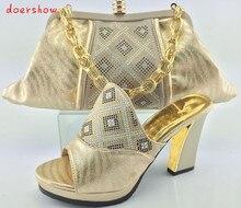 Doershow combinando sapato combinando com saco de set para a festa de qualidade superior sapatos e bolsas itália novo design sapato e bolsa de definir HJY1-6