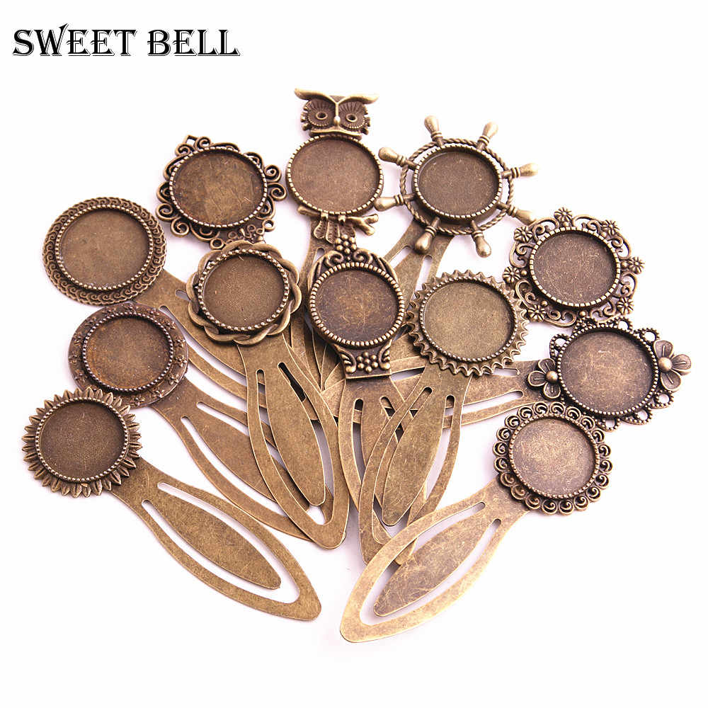 Sweet Bell 8pcs Alloy Cameo Steel Bookmarks  Round Cabochon Settings Jewelry Blank Charm A4275