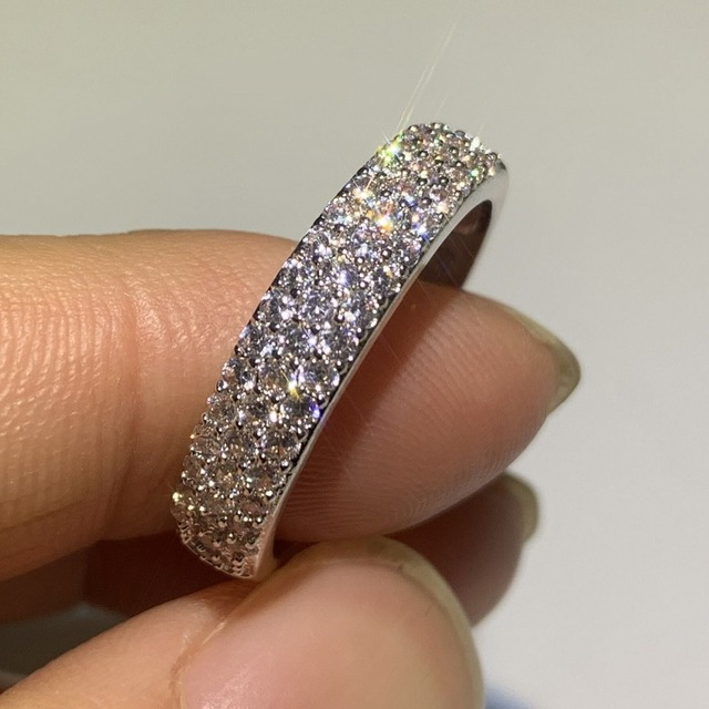 Luxury Jewelry 925 Sterling Silver Big Round Cut 5A Cubic Zirconia  Wedding Crown Band Ring Gift 4