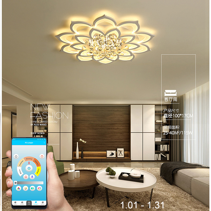 New modern led chandeliers for living room bedroom dining room acrylic crystal Interior home chandelier lamp