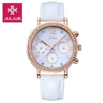 Función Real Julius Reloj ISA Mov T de Concha de Las Mujeres Horas Reloj de Pulsera de Moda Fina de Cuero Deporte Regalo Cumpleañera caja