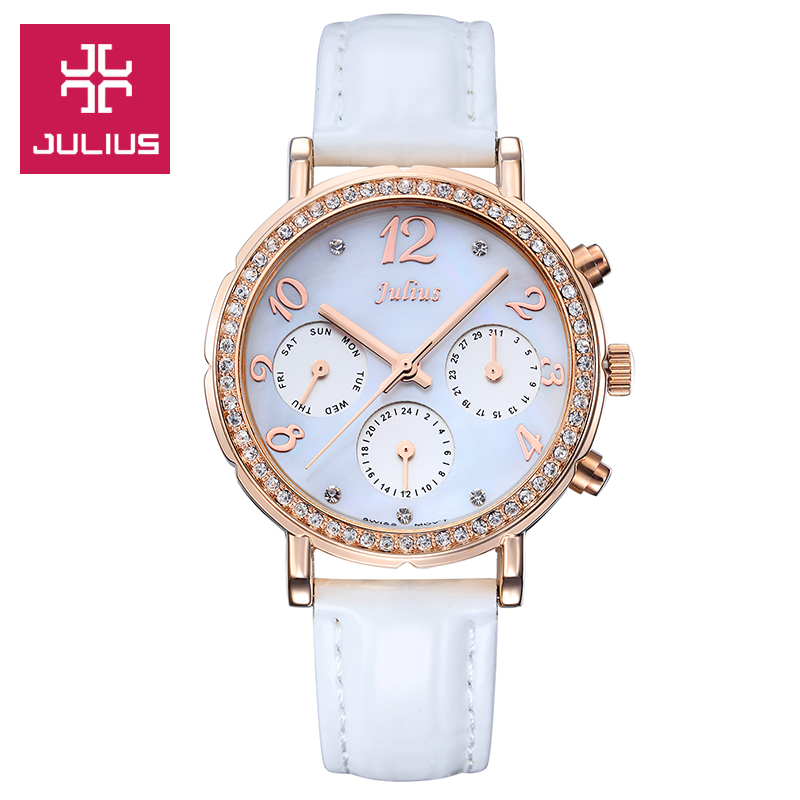 Real Functions Julius Shell Women's Watch ISA Mov't Hours Clock Fine Fashion Bracelet Woman Sport Leather Birthday Girl Gift Box real multi functions julius women s watch isa quartz hours fine fashion dress bracelet sport leather birthday girl s gift box