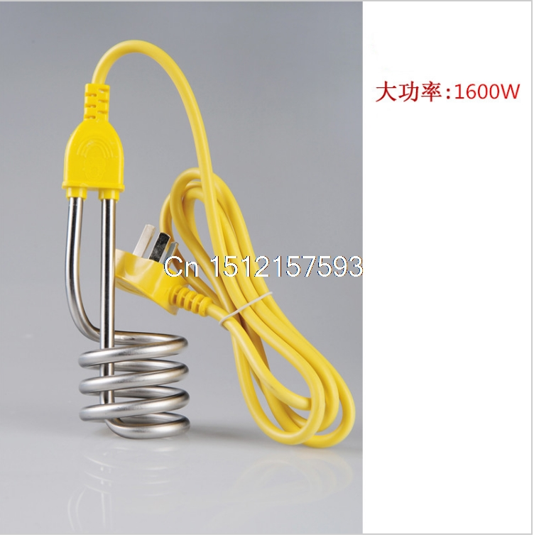 Metal Electric 250V 10A 1600W Immersion Heater Heating Element Teal Yellow Stainless Steel Tube 3 Pins Plug 1.6 Meter electric water heater thermostat temperature control switch heating tube electric heating tube heating rod for ariston