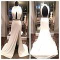 Simple 2016 White Prom Dresses Sexy Vestidos De Noche Keyhole Backless Side Slit Vestidos De Fiesta Robes De Soiree